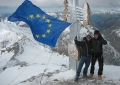 The European flag flying from the highest Alpine peaks
