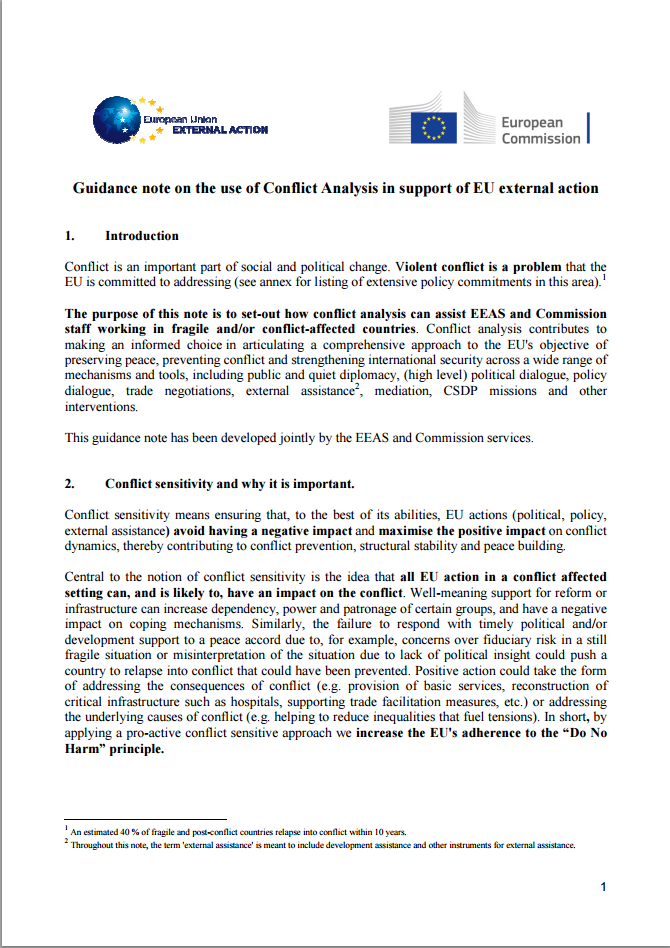 Guidance Note on the Use of Conflict Analysis in Support of EU External Action