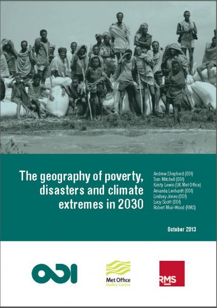 The geography of poverty, disasters and climate extremes in 2030