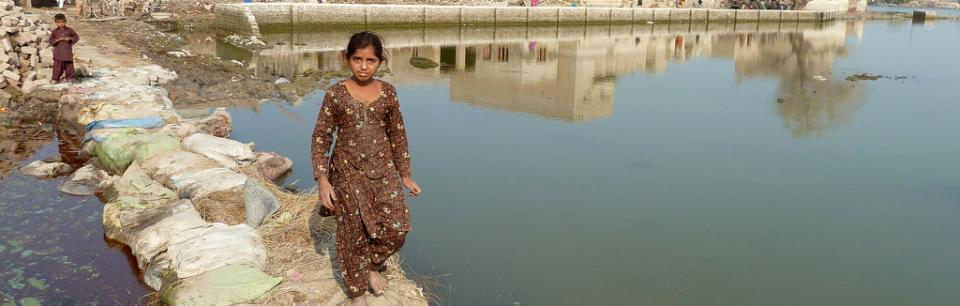 girl returns after flood