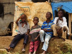 Children sit outside in Sierra Leone