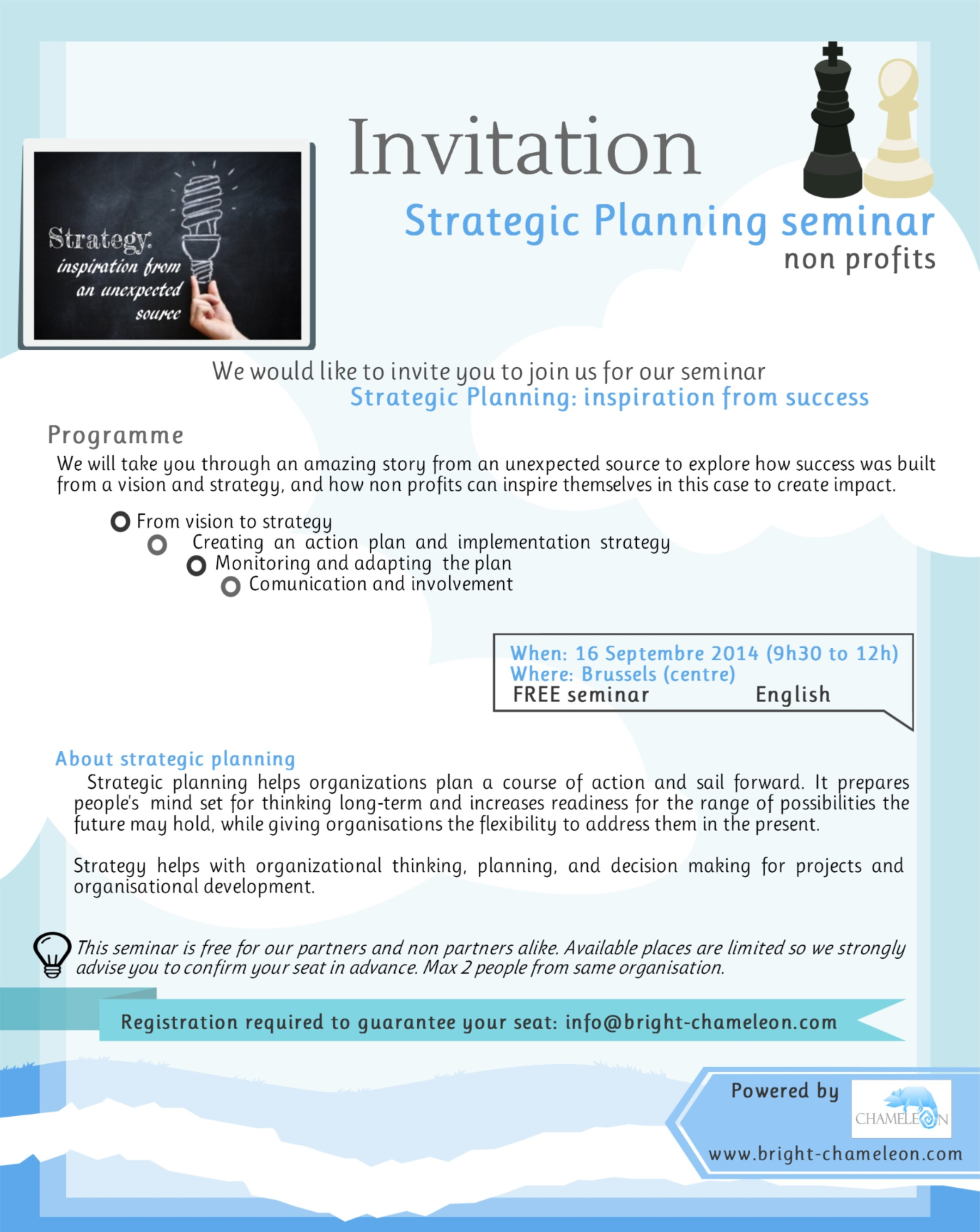 Invitation brochure Strategic planning for nonprofits seminar