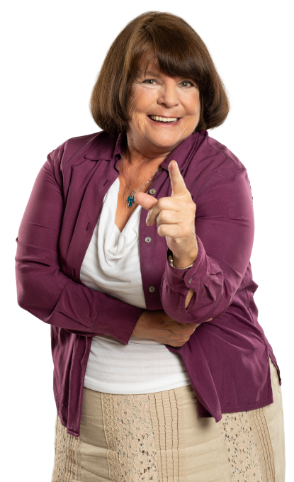 Woman smiling friendly and pointing finger at you