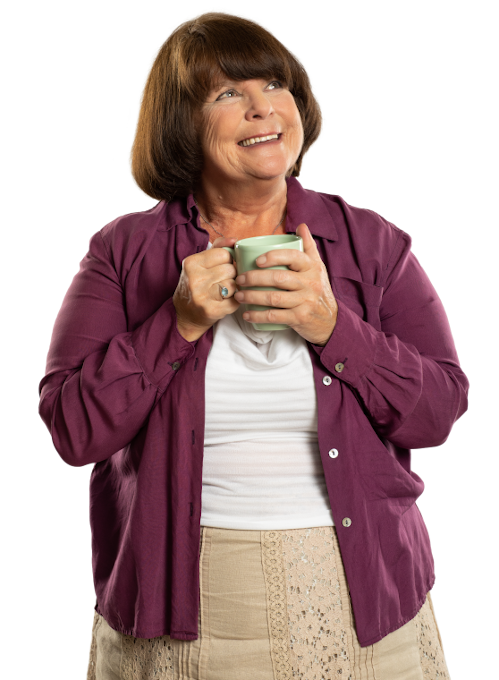 Woman holding a coffee cup and making plans