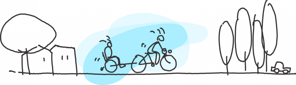 A sketch of a cyclist who is pedaling fast, with a person on a wheelchair attached to his bicycle