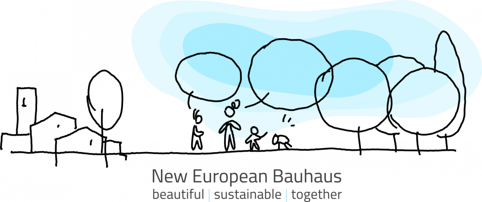 A sketch of a conversation between people in an european square, while a kid is playing with her dog. The conversation baloon transition to become the trees that surround the scene