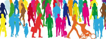 Illustration of crowd of people of different colours walking around © EU