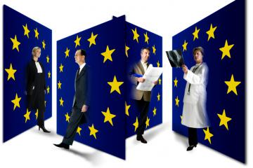 People representing different professions, walking through EU flags © EU