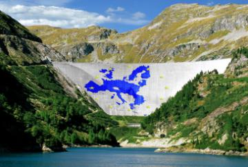 A dam with a map of Europe © EU