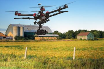A drone flying over a field © EU