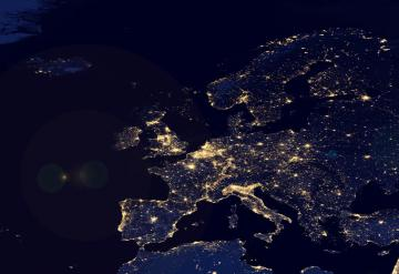 View of Europe by night from the sky © EU