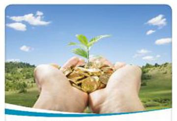 A hand holding coins from which a plant is growing © EU