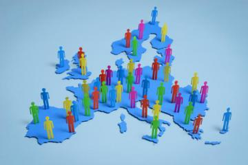 Colourful shapes of people in a map of Europe © EU