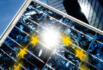 Solar panels with the EU emblem © EU