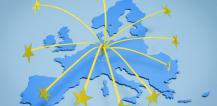 Stars reaching out from map of Europe © EU