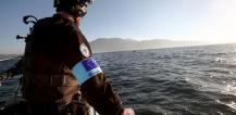 Frontex agent on patrol near Lesbos, Greece © EU