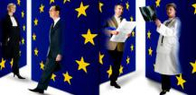 People of different professions walking through EU emblems © EU