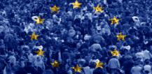 Crowd of people and European flag © EU