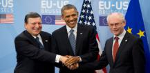 Handshake between Herman van Rompuy, Barack Obama and José Manuel Barroso © EU