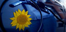 Petrol pump nozzle and sunflower on car © EU