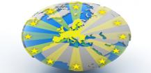 Globe with EU member states in yellow and yellow stars © EU