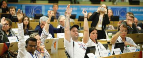 People voting by show of hands in an assembly © EU