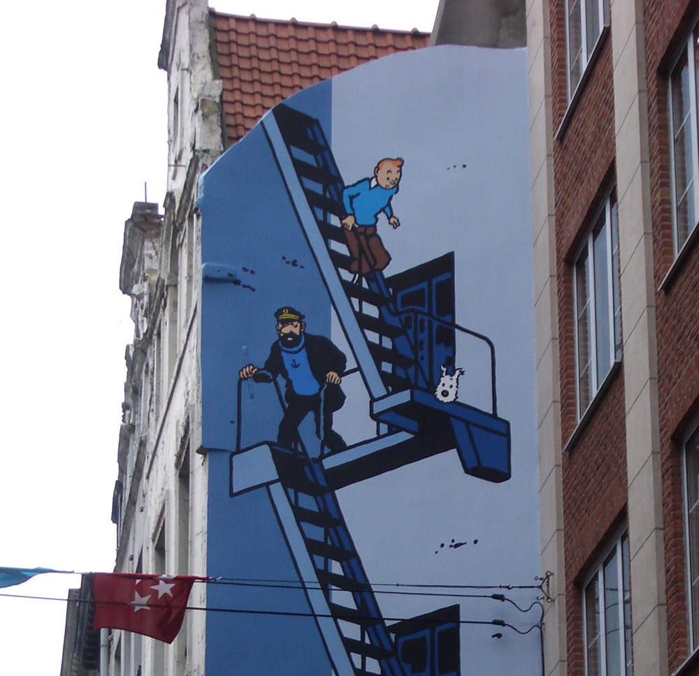 Mural of the comic strip characters Tintin, Captain Haddock and Snowy from Herge's Adventures of Tintin