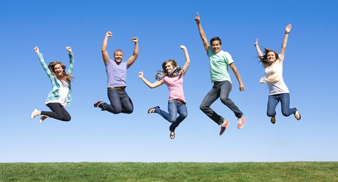 Young people jumping in the air