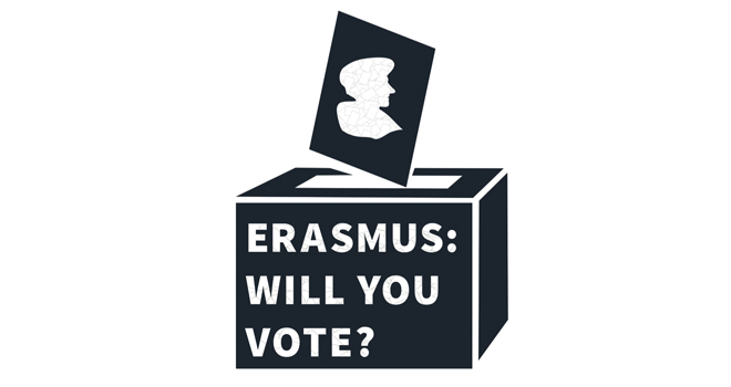 Ballot box with title: Erasmus: Will you vote?