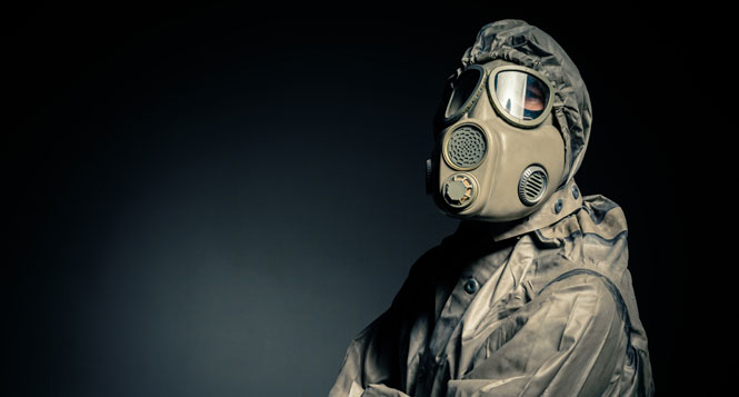 Person wearing gasmask. Source:colourbox.com