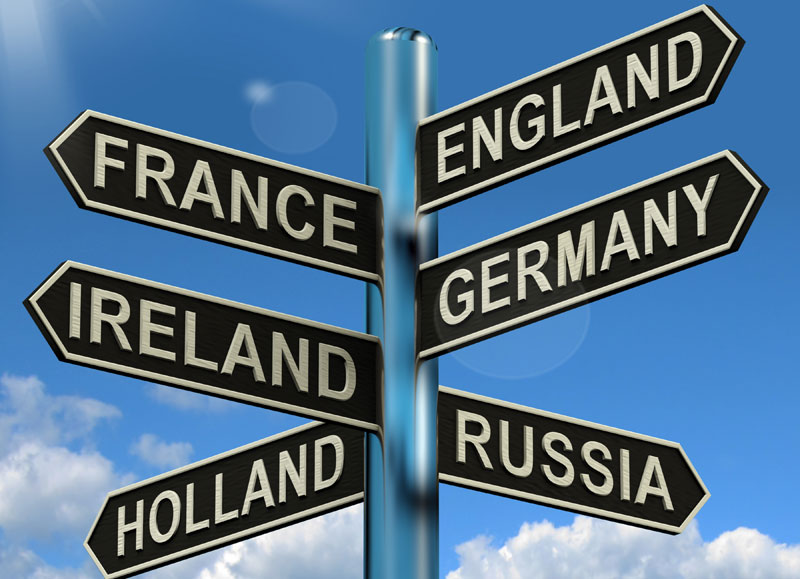 Signs for different countries. Source: Colourbox.com