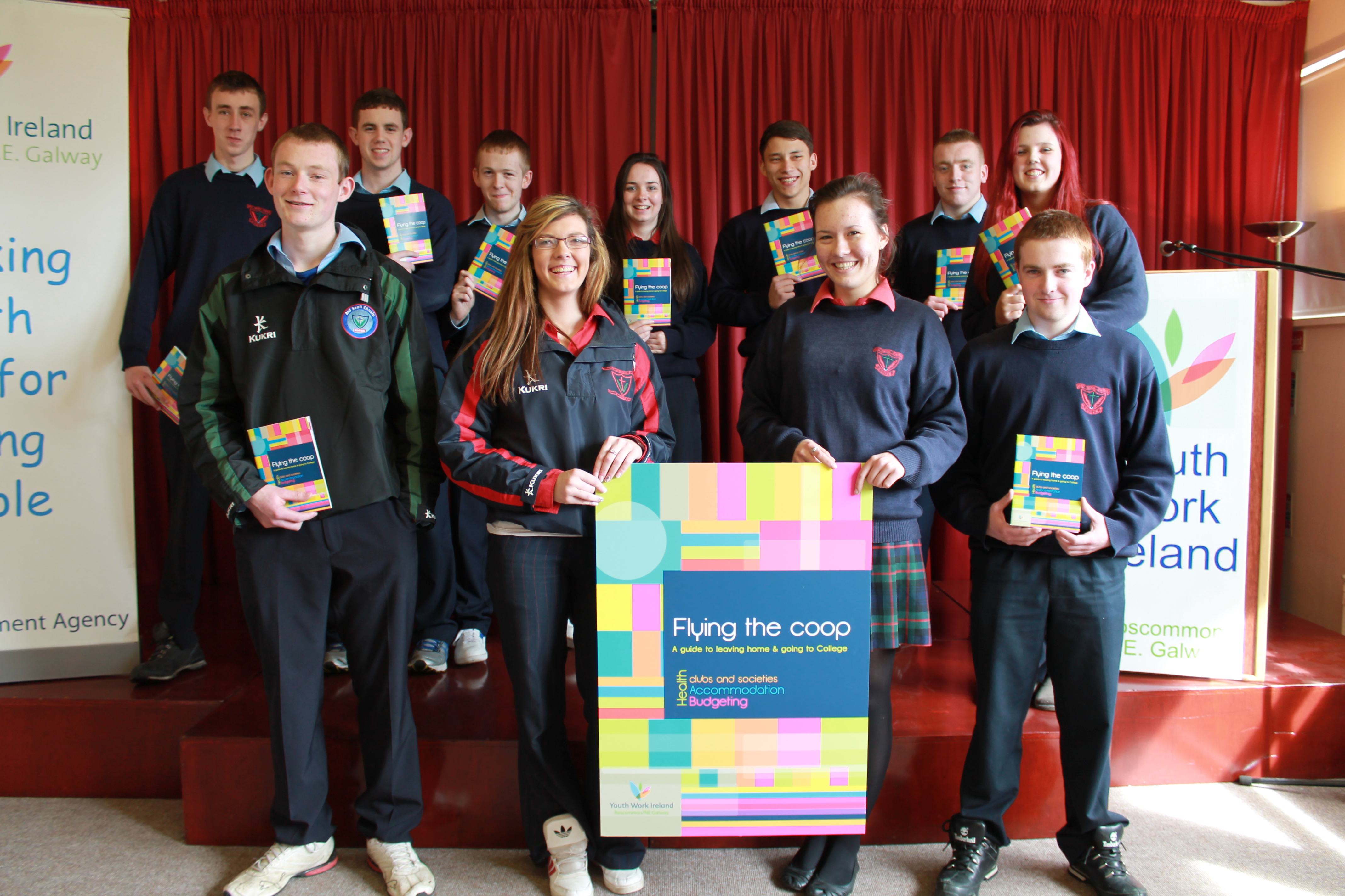 Leaving Cert students from St Cuan's College with Flying the Coop flyer