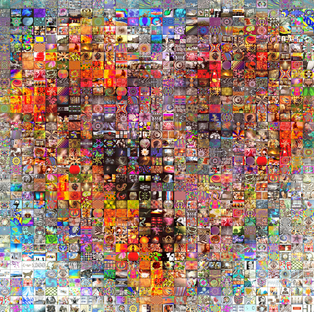 Collage of pieces of art as a heart