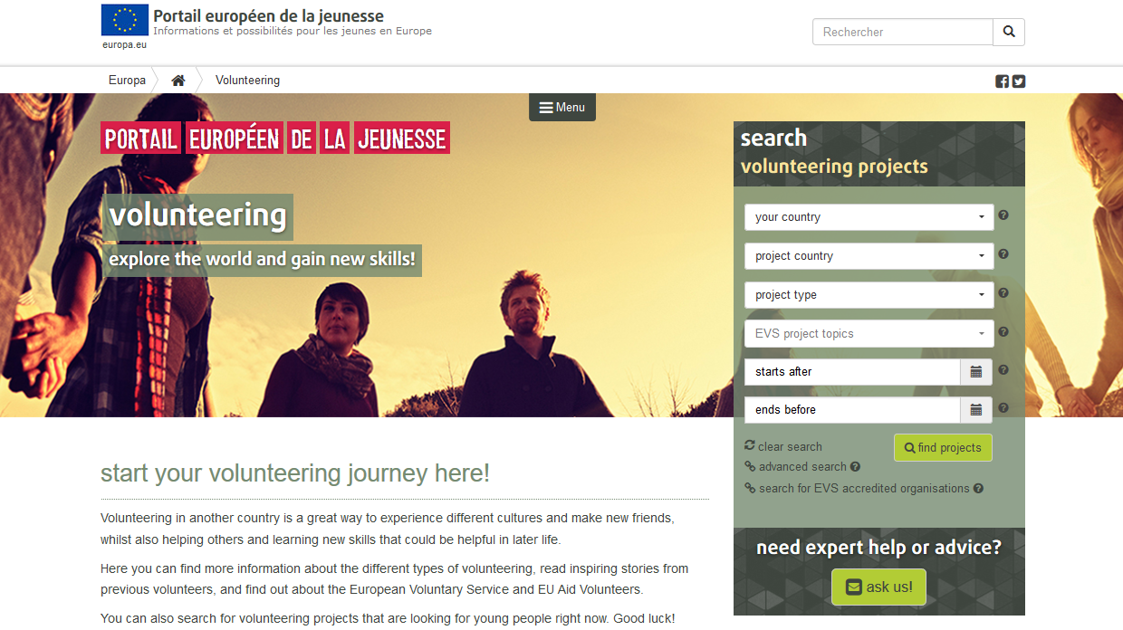 Advertising your volunteering project on the European Youth Portal