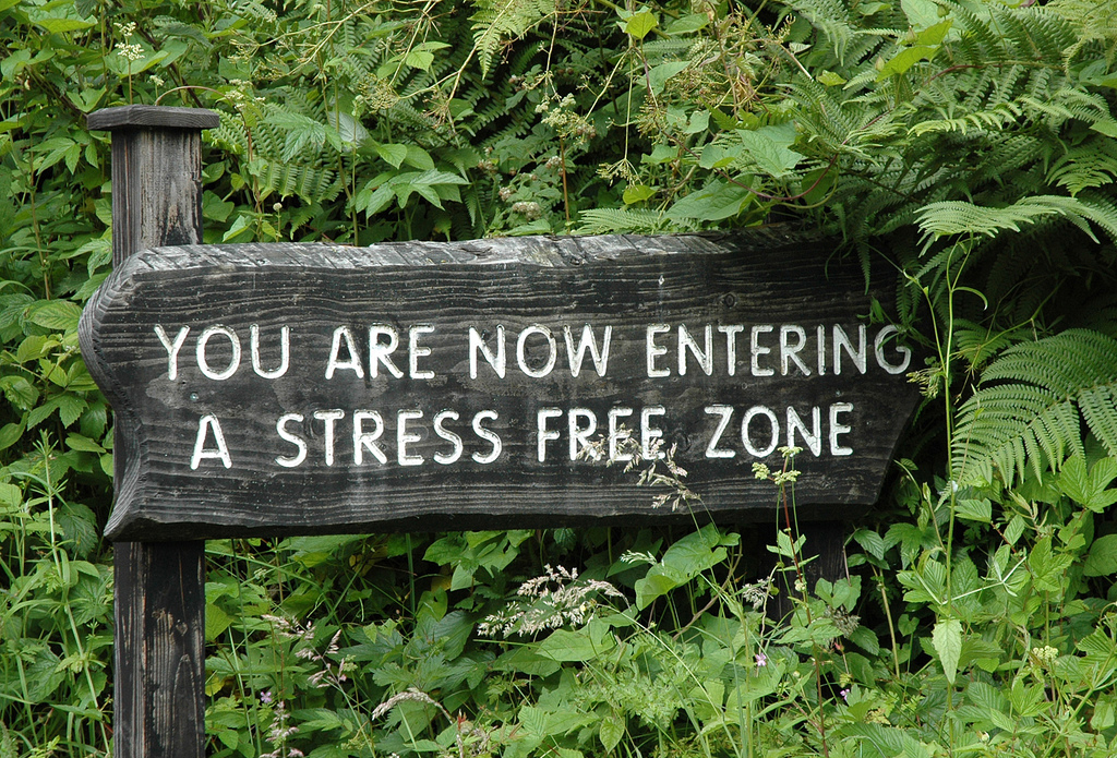 "Schild zeigt Schriftzug: ""You are now entering a stress free zone"""