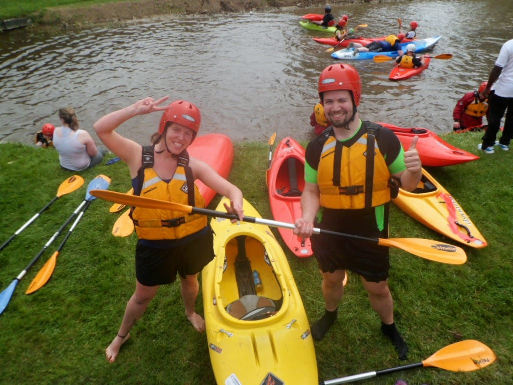 Young people getting ready for canoing