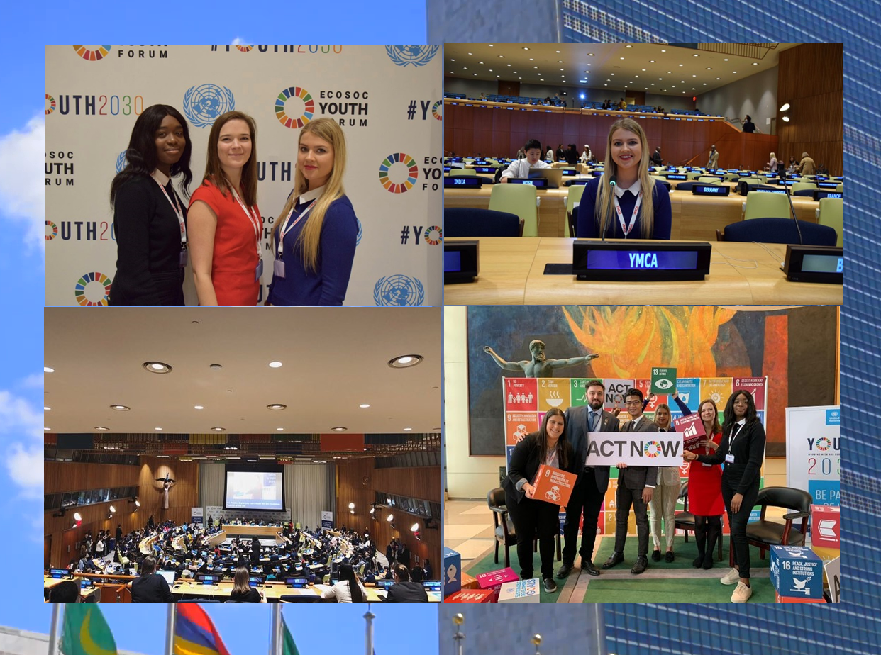 A selection of 4 photogrphs of various YMCA Swansea personel at the ECOSOC in New York
