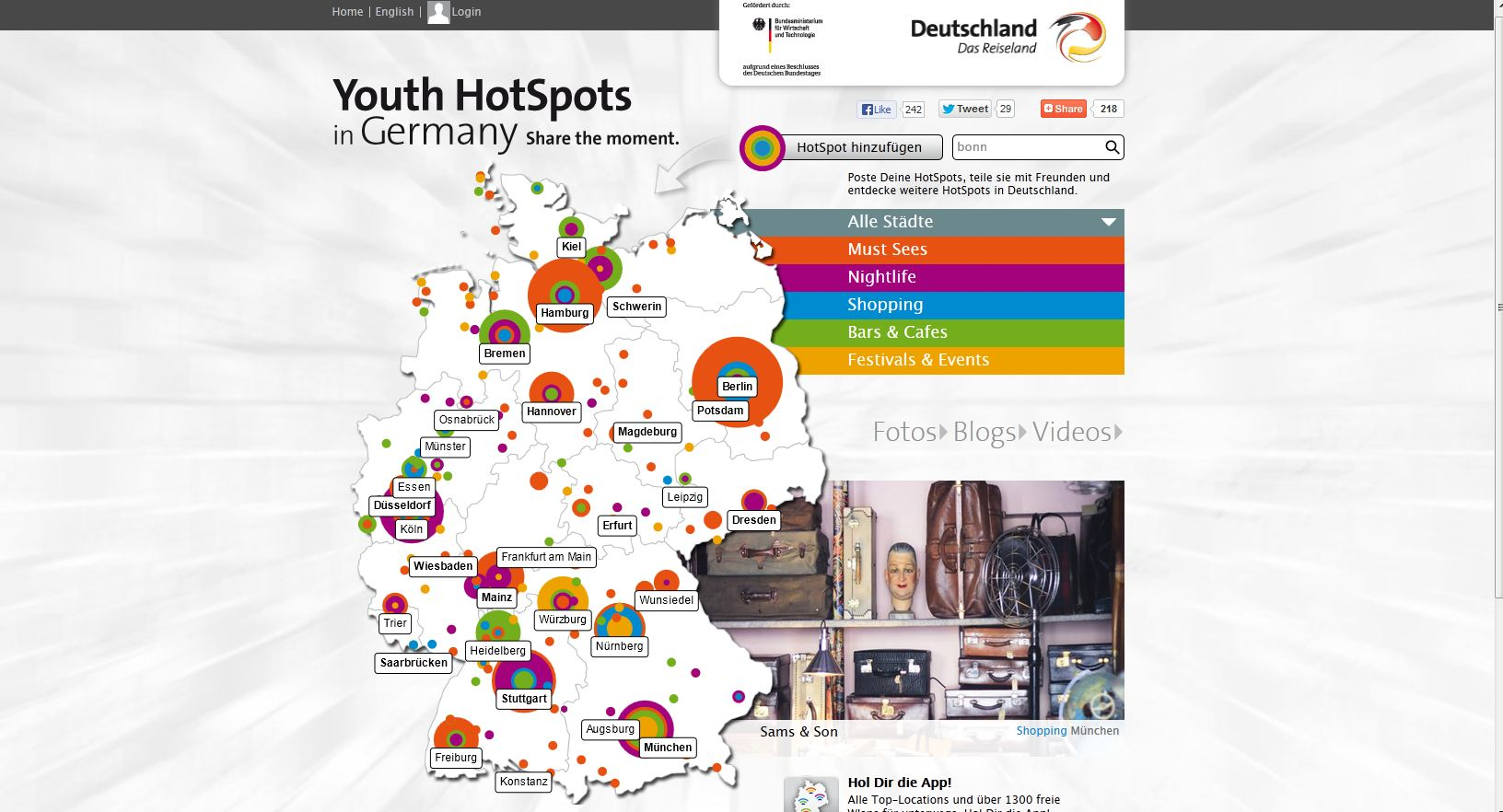Screenshot www.germany.travel/youth