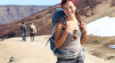 Girl backpacking