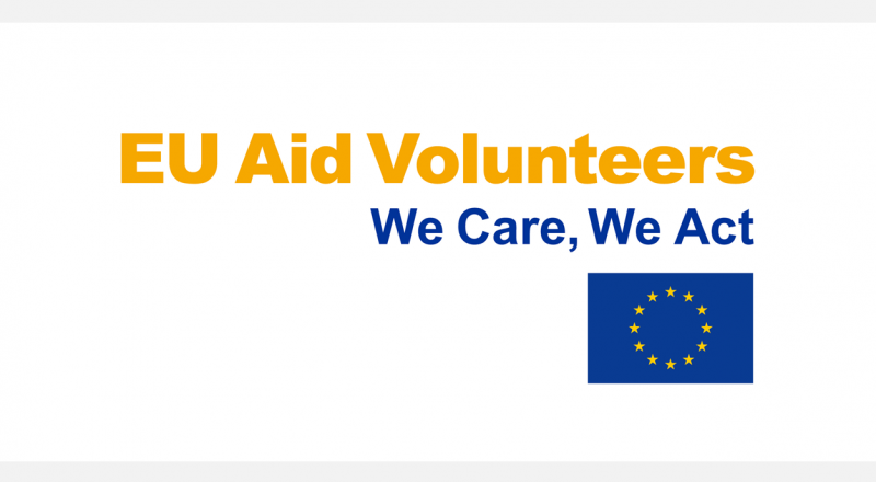 EU Aid Volunteers branding - We Care, We Act