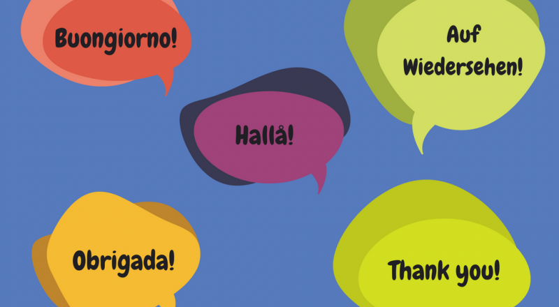 Speech bubbles with multilingual phrases